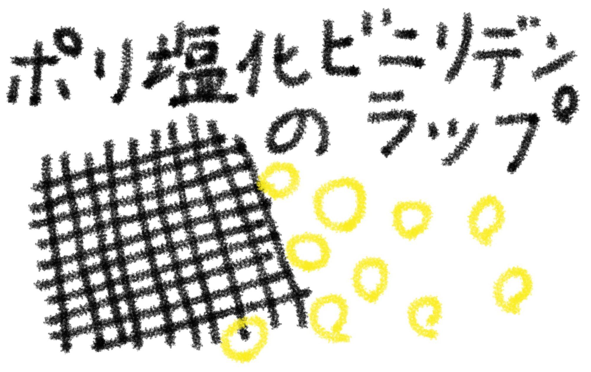 ポリ塩化ビニリデンのラップの目がこまかくてにおいのつぶ(黄色)が通れないイメージ