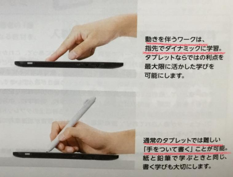 タブレットをいかしてタッチでもペンでも書ける・学べる!
